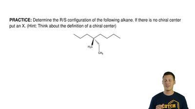 Determine the R/S configuration of the following alkane. If there is no chiral...