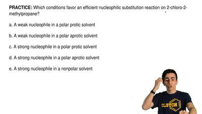Which conditions favor anefficient nucleophilic substitution reaction on 2-ch...