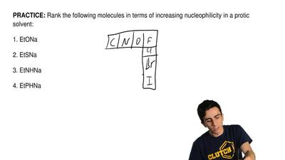 Rank the following molecules in terms of increasing nucleophilicity in a proti...