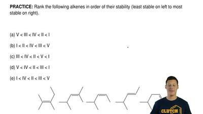 Rank the following alkenes in order of their stability (least stable on left t...
