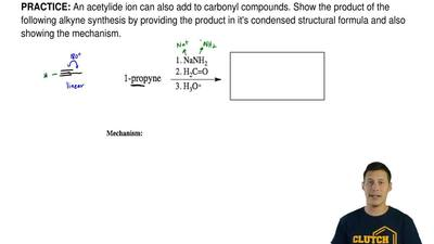 An acetylide ion can also add to carbonyl compounds. Show the product of the f...