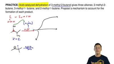 Acid-catalyzed dehydration of 3-methyl-2-butanol gives three alkenes: 2-methyl...