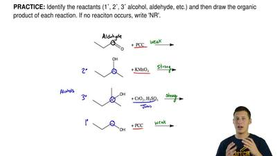 Identify the reactants (1˚, 2˚, 3˚ alcohol, aldehyde, etc.) and then draw the ...
