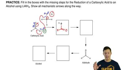 Fill in the boxes with the missing steps for the Reduction of a Carboxylic Aci...