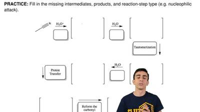 Fill in the missing intermediates, products, and reaction-step type (e.g. nucl...
