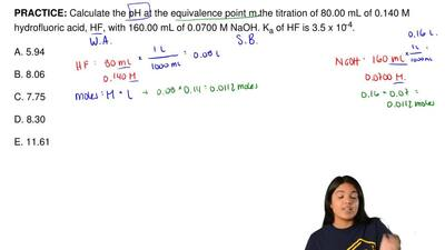 Calculate the pH at the equivalence point from the titration of 80.00 mL of 0....