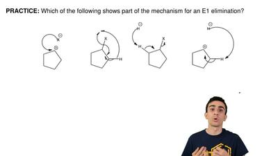 Which of the following shows part of the mechanism for an E1 elimination? ...