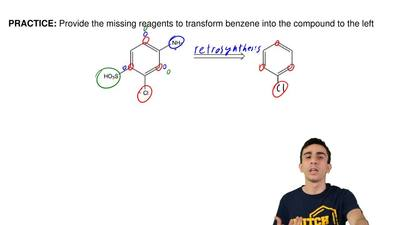 Provide the missing reagents to transform benzene into the compound to the lef...
