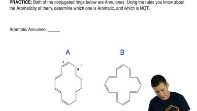 Both of the conjugated rings below are Annulenes. Using the rules you know abo...