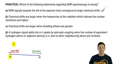 Which of the following statements regarding NMR spectroscopy is wrong?  a) NMR...