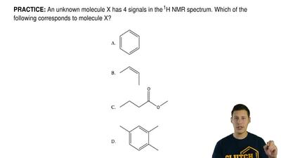 An unknown molecule Xhas 4 signals in the1H NMR spectrum. Which of the follo...