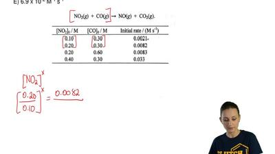 Consult the table and find the rate constant of the reaction.  A) 2.1 x 10-2 M...