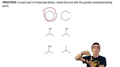 In each pair of molecules below, select the one with the greater predicted boi...