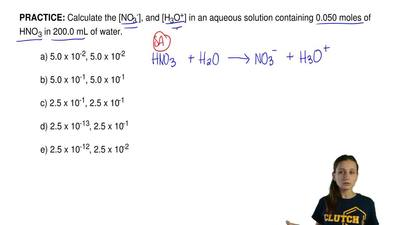Calculate the [NO3-], and [H3O+] in an aqueous solution containing 0.050 moles...