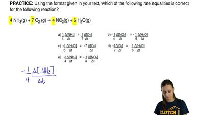 Using the format given in your text, which of the following rate equalities is...