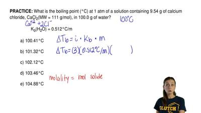 What is the boiling point (°C) at 1 atm of a solution containing 9.54 g of cal...