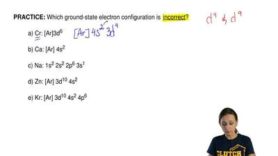 Which ground-state electron configuration is  incorrect?  a) Cr: [Ar]3d6  b) C...