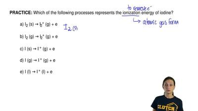Which of the following processes represents the ionization energy of iodine?  ...
