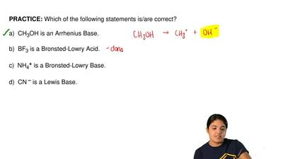 Which of the following statements is/are correct?  a)  CH3OH is an Arrhenius B...