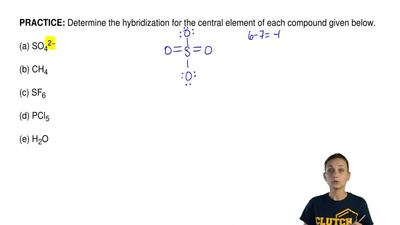 Determine the hybridization for the central element of each compound given bel...