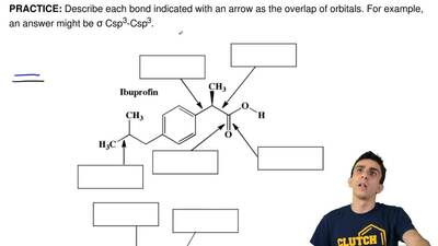 Describe each bond indicated with an arrow as the overlap of orbitals. For exa...