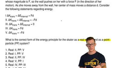 A skater pushes straight away from a wall. She pushes on the wall with a force...