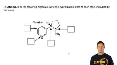 For the following molecule, write the hybridization state of each atom indicat...