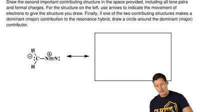 The following molecule is best represented as the hybrid of contributing struc...