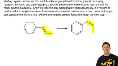 Provide an efficient multistep synthesis for the conversion of the given start...