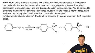 Using arrows to show the flow of electrons in elementary steps in the reaction...