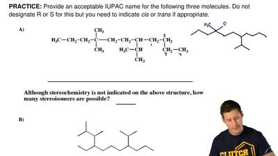 Provide an acceptable IUPAC name for the following three molecules. Do not des...