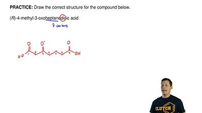 Draw the correct structure for the compound below.  (R)-4-methyl-3-oxoheptane...