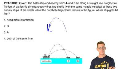 Given: The battleship and enemy ships A and B lie along a straight line. Negle...