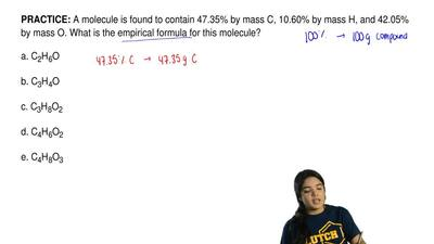 A molecule is found to contain 47.35% by mass C, 10.60% by mass H, and 42.05% ...
