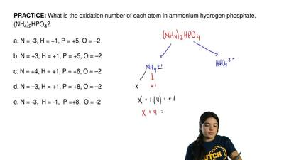 What is the oxidation number of each atom in ammonium hydrogen phosphate, (NH4...