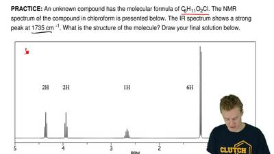 An unknown compound has the molecular formula of C6H11O2Cl. The NMR spectrum o...