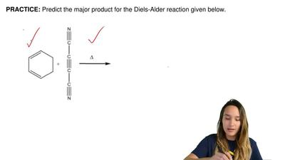 Predict the major product for the Diels-Alder reaction given below.  ...