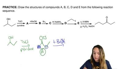 Draw the structures of compounds A, B, C, D and E from the following reaction ...