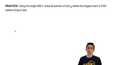 Using line-angle ONLY, draw all isomers of C7H16 where the longest chain is FI...