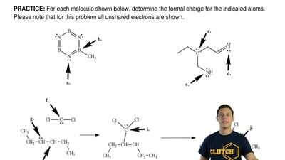For each molecule shown below, determine the formal charge for the indicated a...