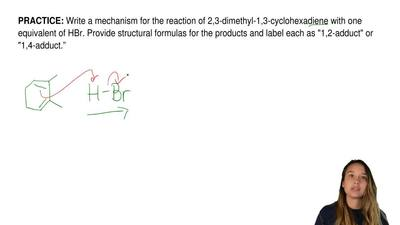 Write a mechanism for the reaction of 2,3-dimethyl-1,3-cyclohexadiene with one...