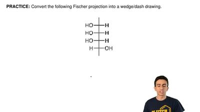 Convert the following Fischer projection into a wedge/dash drawing. ...