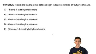 Predict the major product obtained upon radical bromination of t-butylcyclohex...
