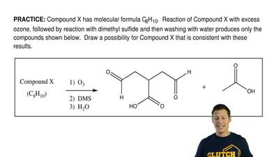 Compound X has molecular formula C8H10. Reaction of Compound X with excess oz...