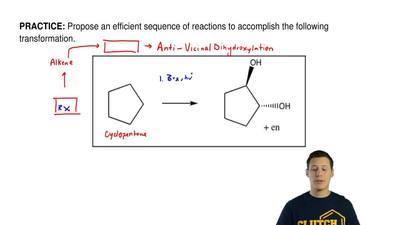 Propose an efficient sequence of reactions to accomplish the following transfo...