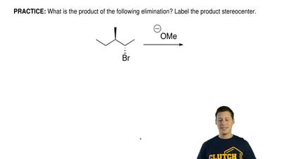 What is the product of the following elimination? Label the product stereocent...
