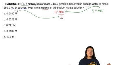 If 4.49 g NaNO3 (molar mass = 85.0 g/mol) is dissolved in enough water to make...