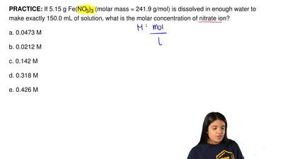 If 5.15 g Fe(NO3)3 (molar mass = 241.9 g/mol) is dissolved in enough water to ...