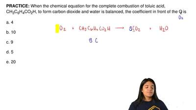 When the chemical equation for the complete combustion of toluic acid, CH3C6H4...