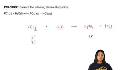 Balance the following chemical equation.  PCl3(l) + H2O(l) → H3PO3(aq) + HCl(a...